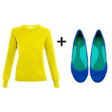 A citron and cobalt contrast may be one of the boldest ways to outfit your color story; but in an easy pullover and everyday ballet flats, it's entirely wearable.  Get the look:  Equipment Sloane Crew-Neck Sweater ($356) Zara Basic Ballerina Flat ($35)