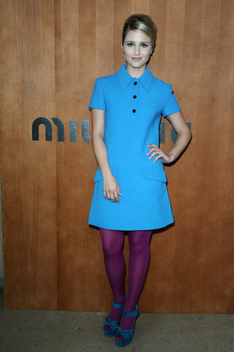 Dianna Agron went the colorfully mod route in a turquoise and fuchsia combo at Miu Miu — are you feeling it?