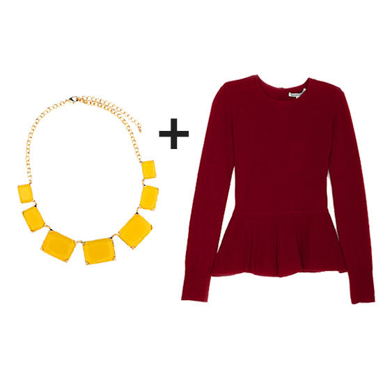 Give an Autumn burgundy a contrasting pop with a fresh yellow statement necklace. Finish it off with your skinny for a night out or add in a pencil skirt for the office.  Get the look:  Autumn Cashmere Exclusive Button Back Peplum Sweater ($298) BaubleBar Sunglow Collar ($30)