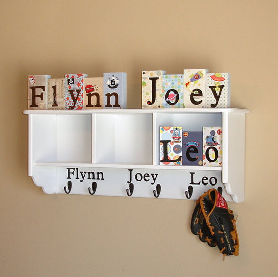 Large Wall Shelf With Three Cubbies