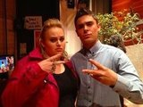Rebel Wilson threw up a gang sign with Zac Efron backstage at The Ellen Show. Source: Source: Twitter user RebelWilson
