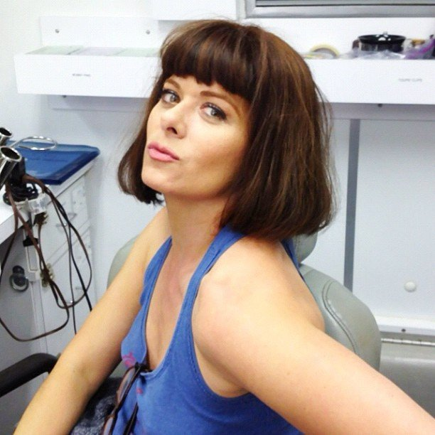 Debra Messing tried on a new look between scenes on the set of Smash. Source: Instagram user therealdebramessing