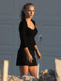 Natalie Portman wore all black on the set of her Terrence Malick film in Austin, TX.