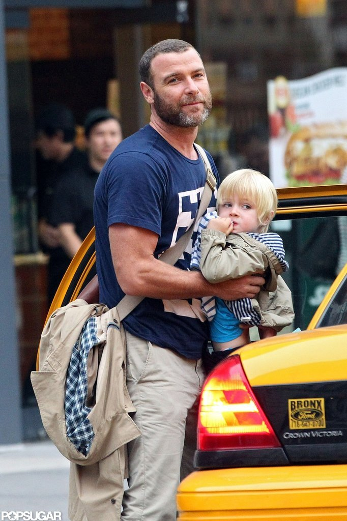 Liev Schreiber helped Kai Schreiber out of a taxi in NYC.