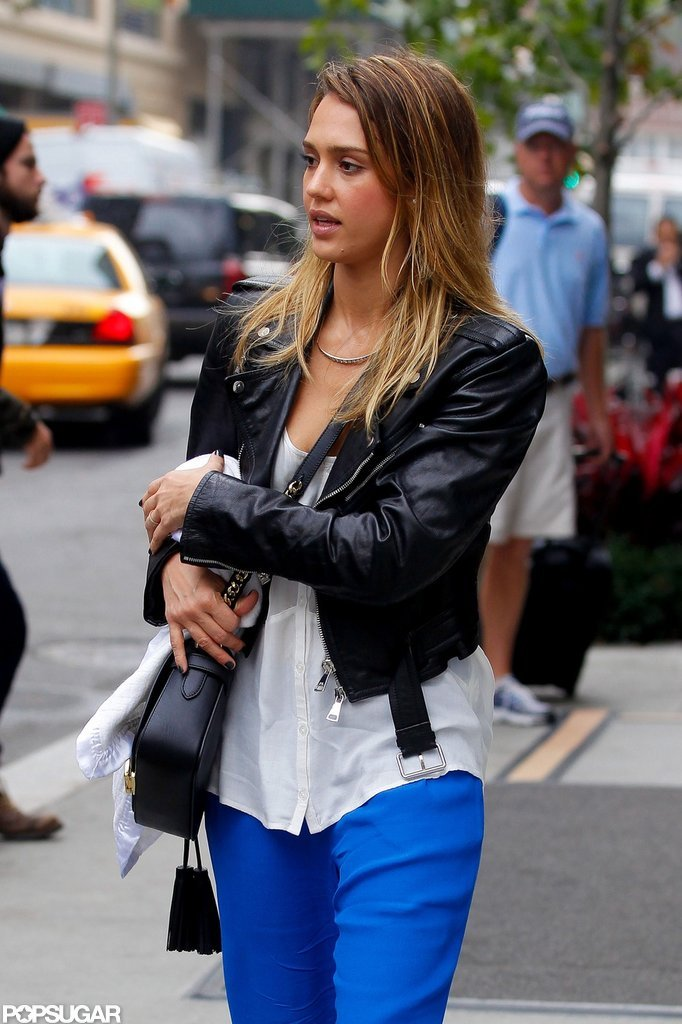 Jessica Alba rocked a black leather jacket.