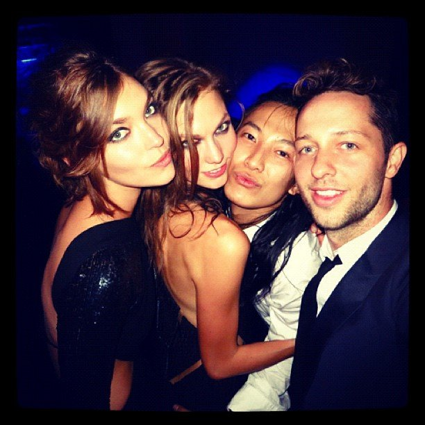 Arizona Muse, Karlie Kloss, Alexander Wang and Derek Blasberg partied together at Carine Roitfeld's ball during Paris Fashion Week. Source: Instagram user derekblasberg