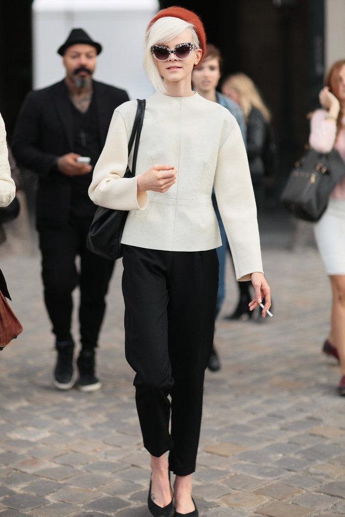 A bold white peplum gave this look a minimalist twist.