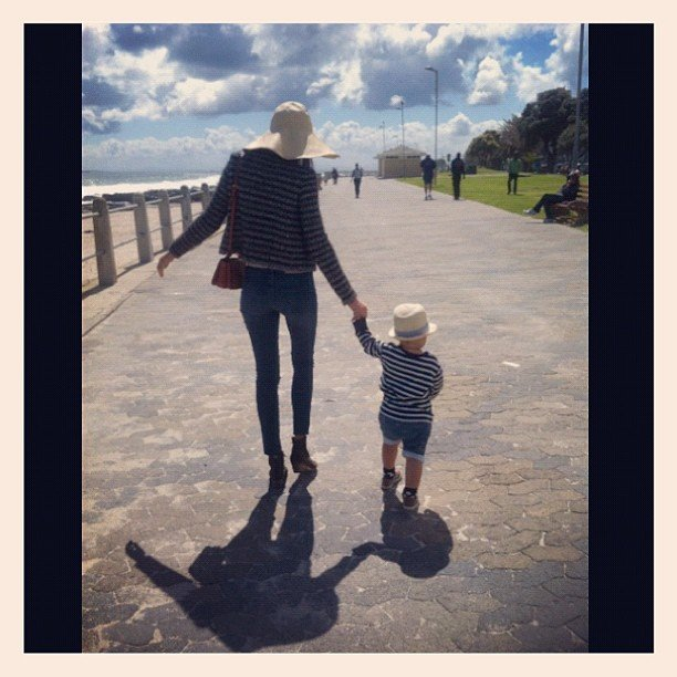 Miranda Kerr took a sunny day walk — in matching outfits — with her son, Flynn Bloom. Source: Instagram user mirandakerrverified