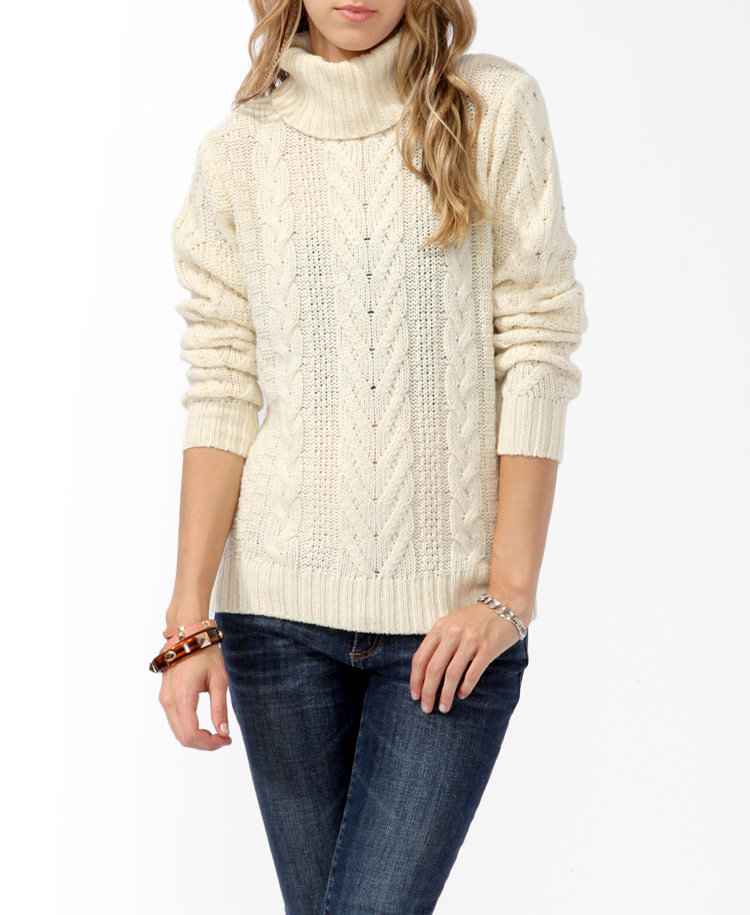 This Forever 21 Cable-Knit Turtleneck Sweater ($28) is already covering up top, so it deserves to be worn with a pencil skirt or miniskirt.