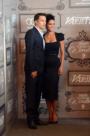 Halle Berry and Olivier Martinez smiled for the cameras.
