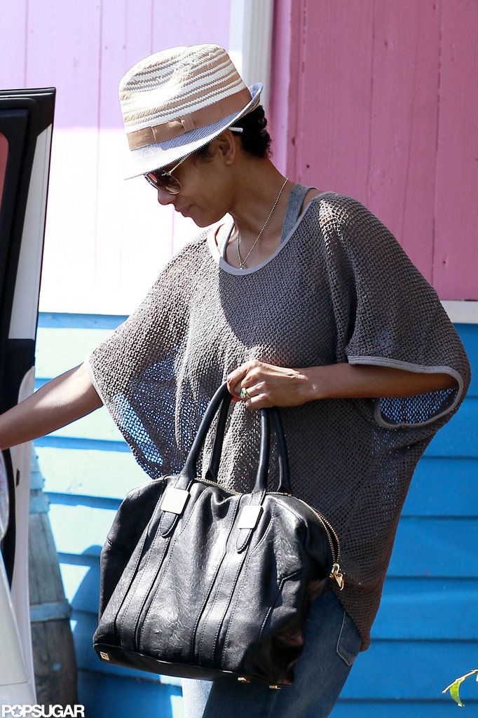 Halle Berry sported a fedora on a lunch date.