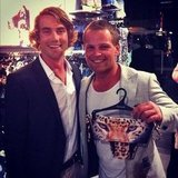 Hayden Quinn and his buddy Craig contemplated a leopard print bikini at the Topshop and Topman Sydney opening party. Source: Instagram user hayden_quinn
