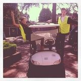 Jesinta Campbell and a friend took over a buggy. Source: Instagram user jesinta_campbell
