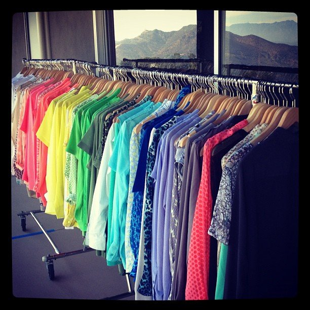 A rainbow of Equipment shirts, ready for Jess Hart to model. Source: Instagram user 1jessicahart