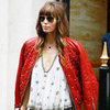 Jessica Biel Wearing Red Leather Jacket