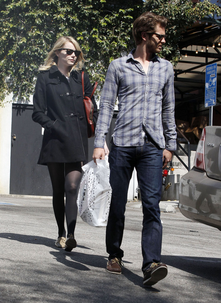 Emma Stone followed closely behind Andrew Garfield.