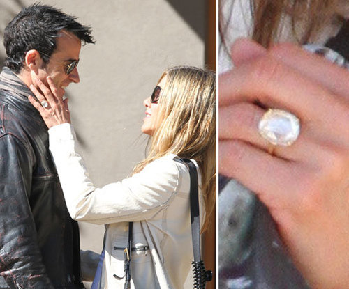 Jennifer Aniston debuted her engagement ring from Justin Theroux during an October weekend in Santa Fe, after the couple confirmed their engagement in August.