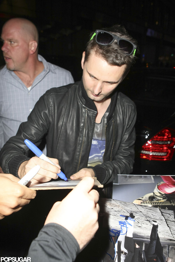 Matthew Bellamy signed autographs after leaving an SNL party in NYC.