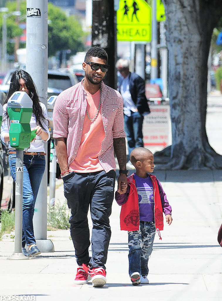 Usher and Usher V sported bright colors while out for a bite to eat in West Hollywood in June 2011.