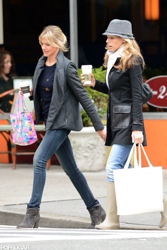 Cameron Diaz and a friend had a day of shopping in NYC together.