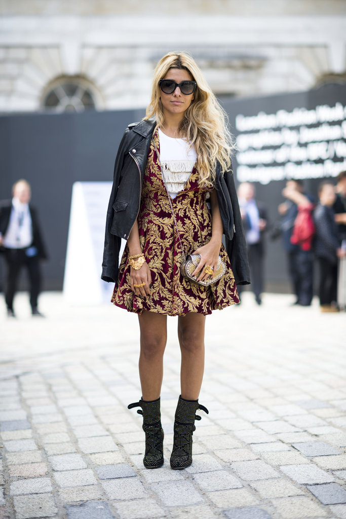 Work a little brocade into your daily mix on a pretty dress like this that you can dress up with tights for your cocktail-party occasions, or down with ankle boots and a leather jacket. Source: Adam Katz Sinding