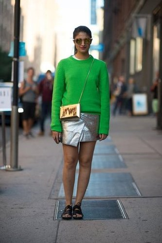 Warm up an icy metallic — and make it more everyday-appropriate — with a Fall sweater. Source: Adam Katz Sinding