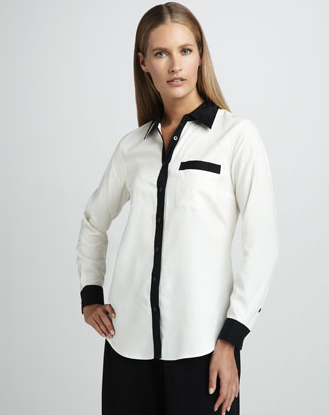 For a less obvious take on pajama dressing, this Go Silk Contrast-Trim Silk Blouse ($195) still hints at the trend, but is versatile and understated enough to pair well with practically anything in our closets — and how chic is this black and white palette?