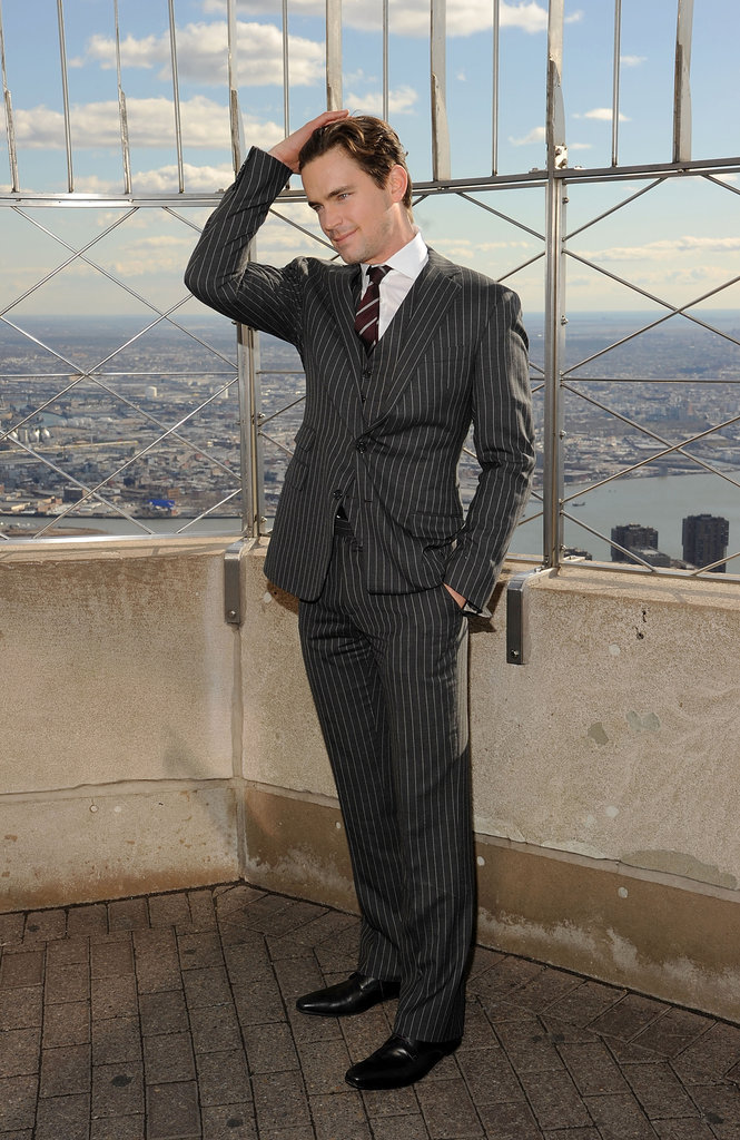 Matt Bomer slicked back his locks while posing at NYC's Empire State Building in January 2012.