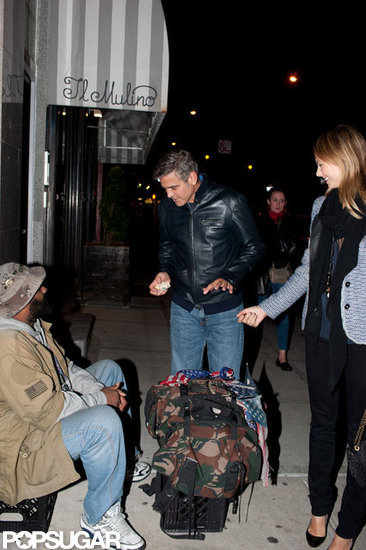 George Clooney gave money to a homeless man while out with Stacey Keibler in NYC.