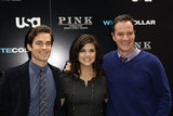 Matt Bomer posed for photos in NYC with Tiffani Thiessen and Tim DeKay at USA's White Collar media presentation in October 2009.