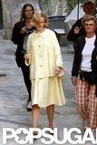Nicole Kidman wore a yellow jacket and skirt with penny loafers to film as Grace Kelly for Grace of Monaco.