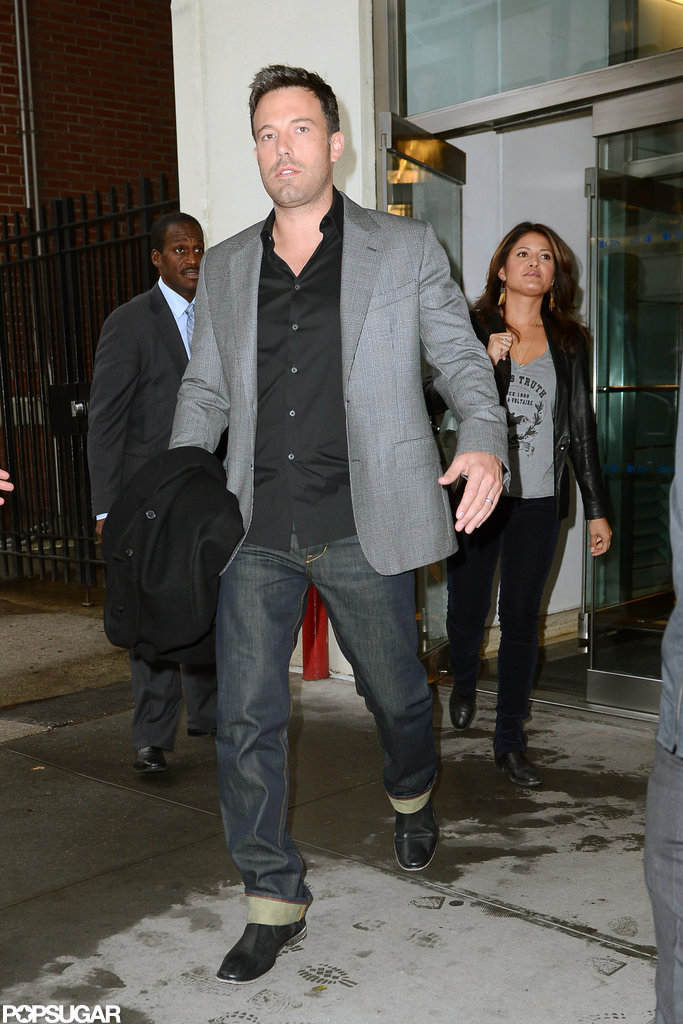 Ben Affleck sported a gray blazer.