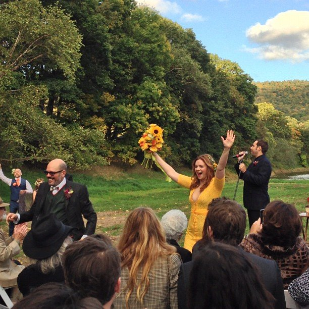 Amber Tamblyn was excited after marrying David Cross. Source: Instagram user Questlove
