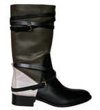 In yet another twofer twist, this Freda Ride mid-calf boot ($595) can be either a colorblocked riding-style option or . . .