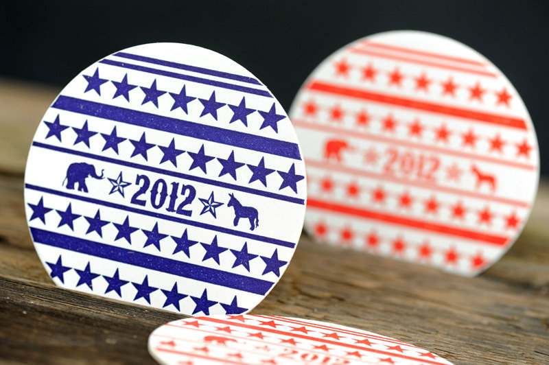 Sip in political style with these blue and red 2012 Election Letterpress Paper Coasters ($10 for 10).