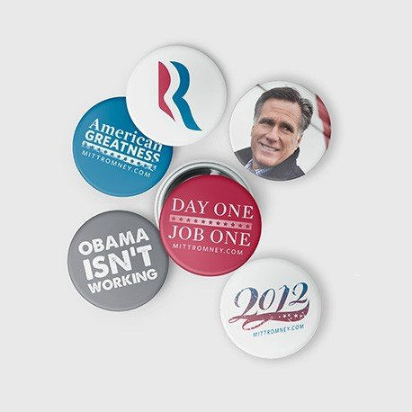 The Romney-Ryan 2012 Mini Buttons Set ($12) is a simple way to support the Republican candidate.