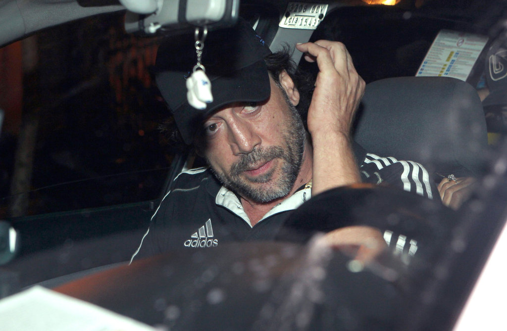 Javier Bardem wore a black cap out in Madrid.