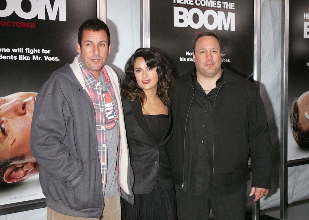 Adam Sandler made an arrival at the premiere and joined Salma Hayek and Kevin James on the carpet.