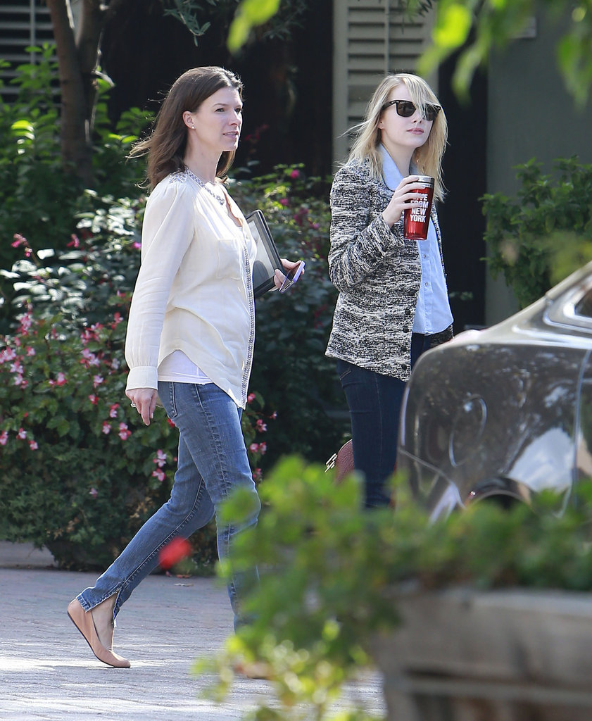 Emma Stone went to a movie studio in LA.