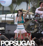 Katy Perry showed some midriff on stage during the Katy Perry Pool Party Concert at the Fontainbleau Hotel in Miami in August 2009.