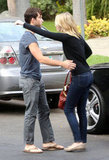 Emma Stone said goodbye to a friend before heading to her car.