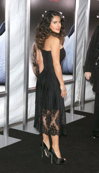 Salma Hayek showed off her figure in a black dress.
