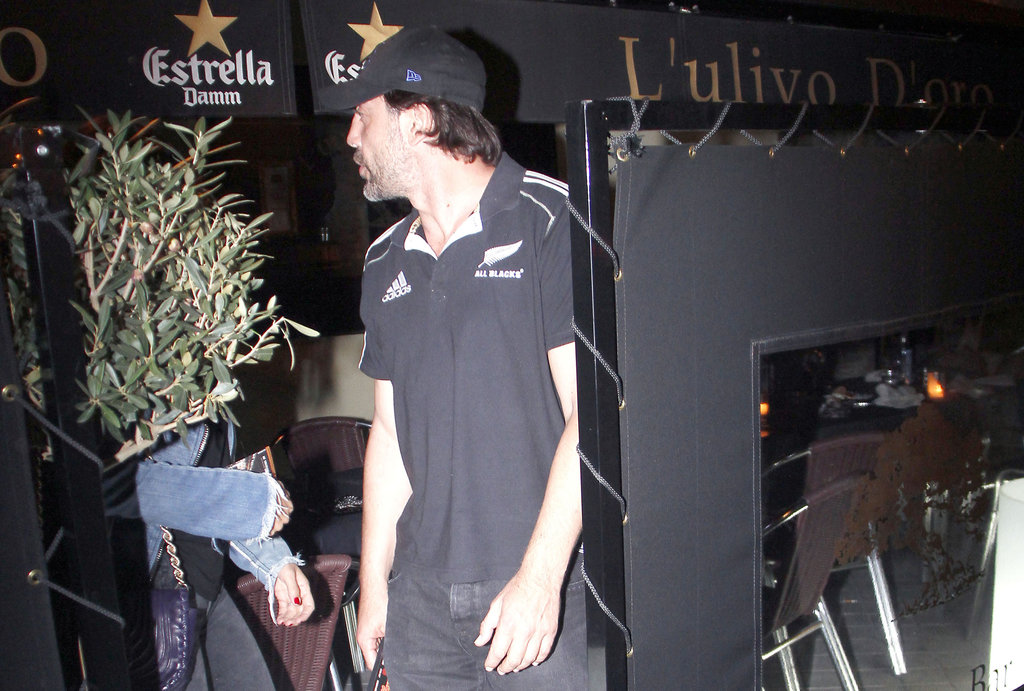 Javier Bardem arrived for dinner with wife Penélope Cruz and their families in Madrid.