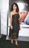 Salma Hayek wore a curve-hugging black dress.