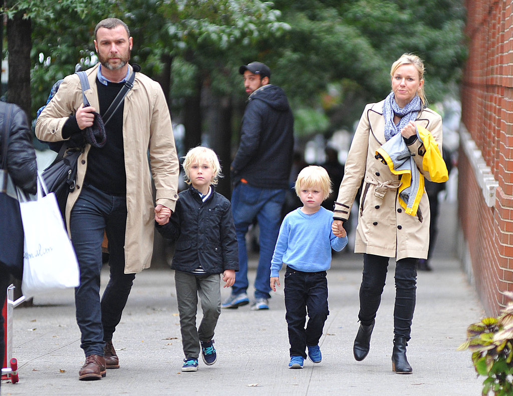 Naomi Watts and Liev Schreiber held their sons' hands for a walk around the Big Apple.