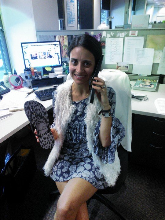 Using a Sass & Bide X Havaianas thong as a phone on my first day back at work. Delirious much?