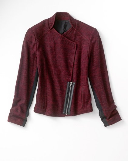 The key to her burgundy-hued blazer's cool factor fell squarely on its textural intrigue; thus, we're going for the same effect. This tweedy Coldwater Creek asymmetrical version ($63, originally $100) is just as rich in Fall seasonality, but has a fun zipper-front twist, too.