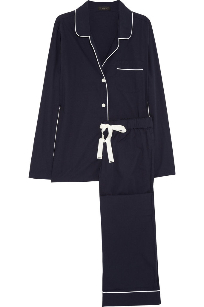 This J.Crew Piped Cotton Pajama Set ($85) is a timeless choice.