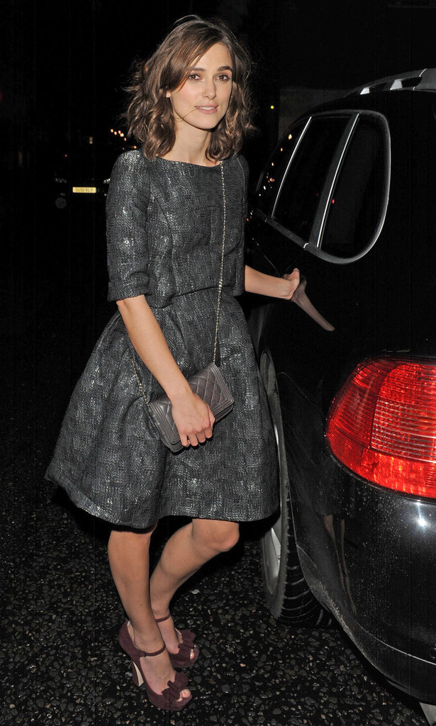Keira Knightley left the Chanel Little Black Jacket dinner.