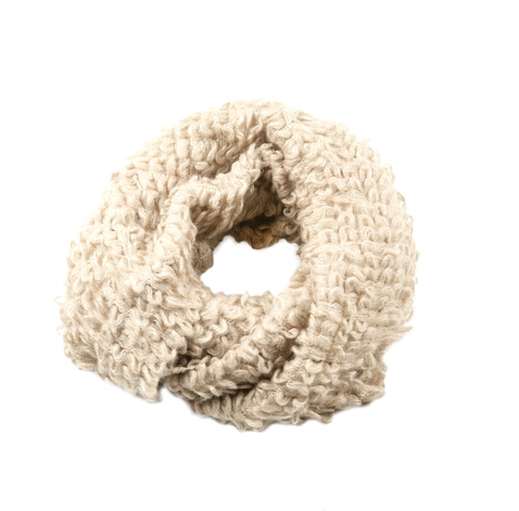 This Shiraleah infinity scarf ($31) is ultratextured and will certainly bring wintry drama to a more pared-down look.